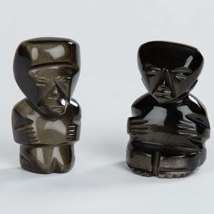 Vintage Onyx Hand-carved Mexican Figurines Set